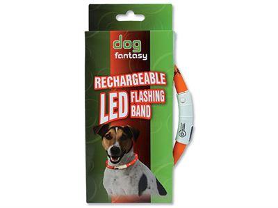 Obojek DOG FANTASY světelný oranžový