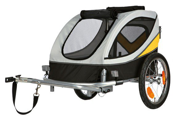 Vozík za kolo šedo/žluto/černý Trixie