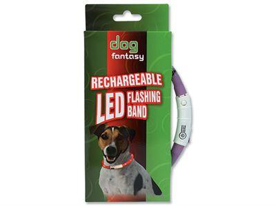 Obojek DOG FANTASY světelný fialový