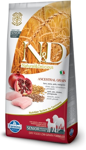N&D Low Grain DOG Senior Medium/Large Chicken & Pomegranate 12kg